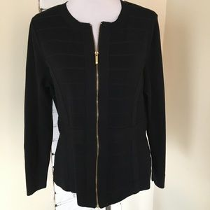 Lane Bryant Dressy Cardigan Stretch Gold Zip 14 16